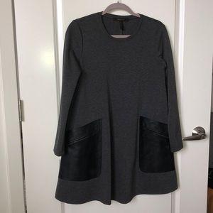 NWOT BCBG long sleeve dress faux leather pockets
